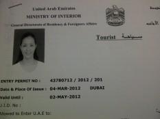 Approved tourist visa for my Dubai training. (Mar.'12)