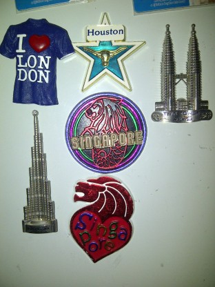 Magnet collection on my fridge.