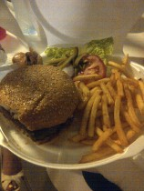 Burger meal at the Pearl Lounge beach party.