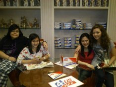 At 4US cafe with the girls.
