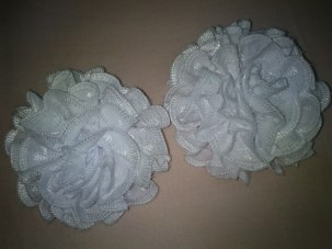 DIY lace fabric flowers.