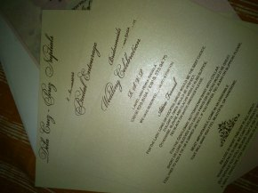 The pages of our wedding invitations.
