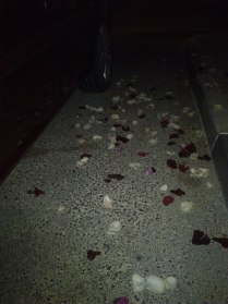 Crazy friends showered me with loose petals at the parking lot! Hahaha! (Jul.'12)