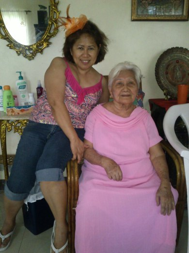 Mom and Mama. Mama with her dress for the wedding. (Sept.'12)