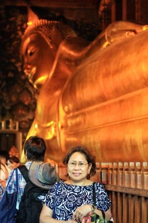At the Reclining Buddha temple at Bangkok, Thailand with Mom. (Aug.'12)