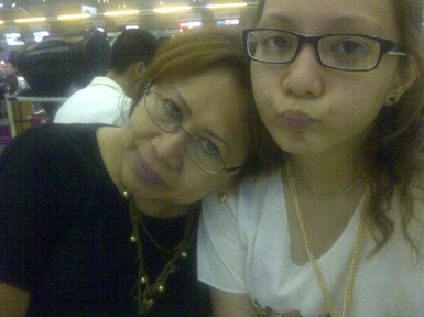 Waiting for check-in to open at Bangkok airport with Mom. (Aug.'12)